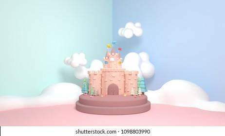 3d rendering picture of cartoon castle.