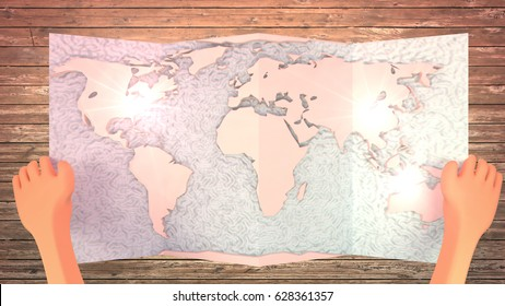 3d rendering picture of cartoon hands holding world map. Concept of summer vacation travel plan. Wooden floor background. Top view angle.