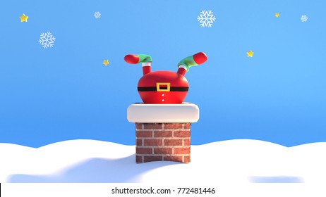 3d rendering picture of cartoon Santa Claus stuck in the chimney.