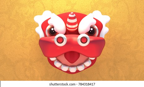 3d rendering picture of Chinese New Year lion mask.