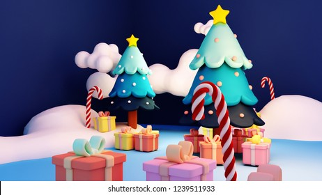 3d rendering picture of Christmas trees, candy canes, and gifts.