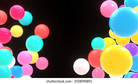 3d rendering picture of colorful balls on black background.