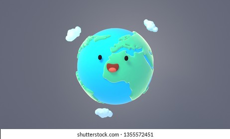 3d rendering picture of cute cartoon Earth with smiling face on gray background.