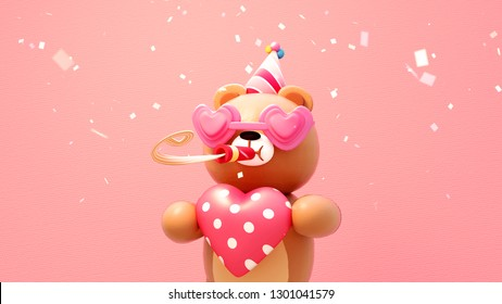 3D rendering picture of Happy Valentine's toy bear holding a big heart, wearing a party hat and heart shaped eyeglasses.