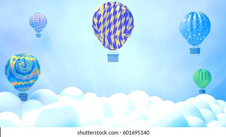3d rendering picture of hot air balloons in the sky. Recreational outdoor activities. Beautiful cloudscape background. Glory lights effect.