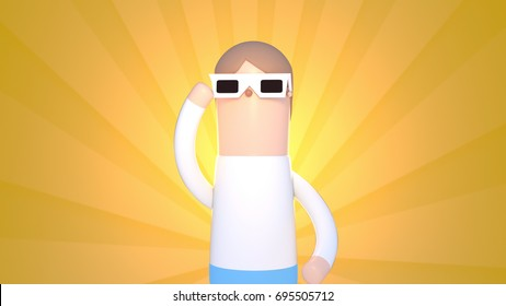 3d rendering picture of man using solar eclipse glasses.
