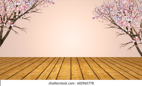 3d rendering picture of plum blossom and wooden floor. Spring theme background. Blank copy space for your logo or messages.