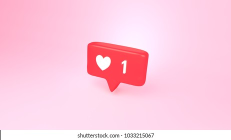 "3d rendering picture of social media notification ""one like"" icon."