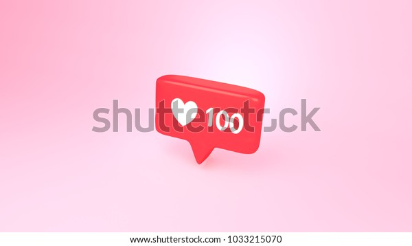 "3d rendering picture of social media notification ""one hundred likes"" icon."