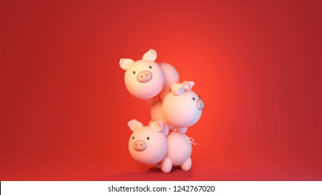 3d rendering picture stack of pigs. 2019 Chinese New year of the Pig.