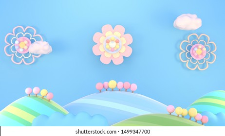 3d rendering picture of sweet cartoon mountains, trees, and clouds.