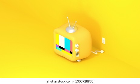 3d rendering picture of yellow toy TV.