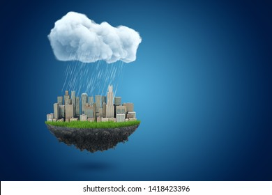 3d rendering of piece of land with modern city on it, suspended in air under big rainy cloud on blue background with copy space. Urban crisis. Climate and weather. Environmental problems.