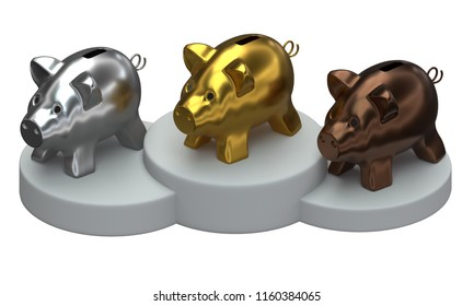 3D rendering of piggy banks standing on the podium isolated on white background.