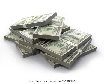 3D rendering of pile of 100 dollar banknote wads on white