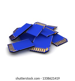 3D Rendering of pile of SD Cards. 3D Rendering isolated on white.