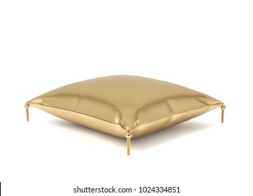 3d rendering of a pillow made of golden fabric with gold trim and intricate tassels. Home textile. Wealth and luxury items. Awards and presents.