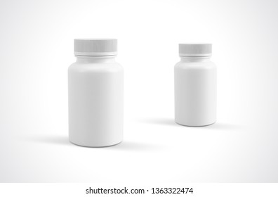 3d Rendering pills or supplements capsules plastic bottles front view white background