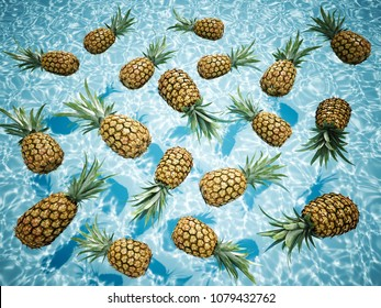 3d rendering. pineapples swimming in a blue pool.