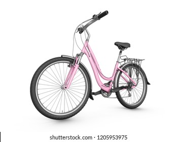 3D Rendering pink bicycle isolated on white background