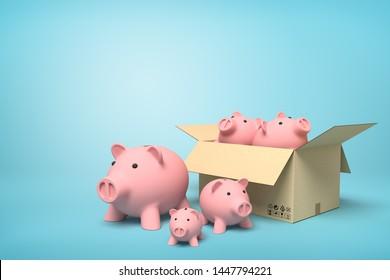 3d rendering of pink ceramic piggy banks in carton box on blue background. Growth of profits. Saving money. Bulk buying.