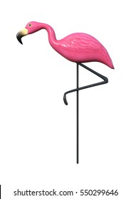 3D rendering of a pink flamingo as garden decoration isolated on white background