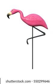 Representación 3D de un flamingo rosa como decoración de jardín aislada en fondo blanco