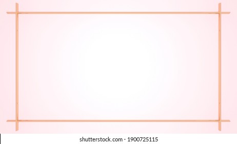3D rendering of pink gold frame on pink background