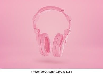 3d rendering of pink headphones on pink background. Sound and vision. Music and noise. Digital art.