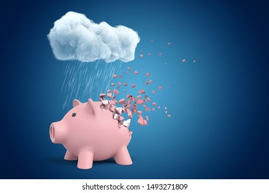3d rendering of pink piggy bank that is dissolving in pieces, standing under cloud of pouring rain on blue copyspace background. Money and finance. Lose money. Go bankrupt.