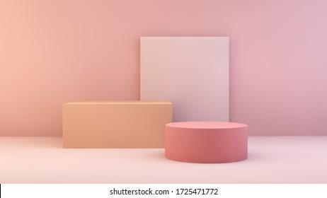 Produktpräsentation für das 3D-Rendering mit rosa Schaufenster