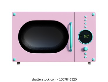 3D rendering of a pink retro microwave isolated on white background