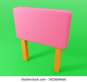 3d Rendering of pink sign board