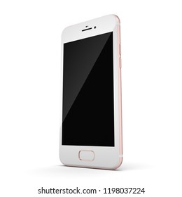3D rendering pink smart phone with black screen isolated on white background