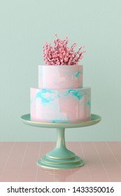 3D rendering of a pink and turquoise marbled mirror glaze cake on cake stand