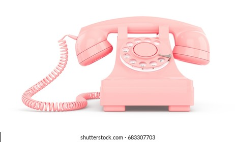 3D rendering pink vintage phone isolated on white background