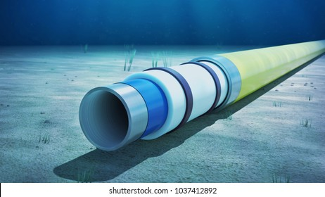 3d rendering of a pipe-in-pipe pipeline on the seabed