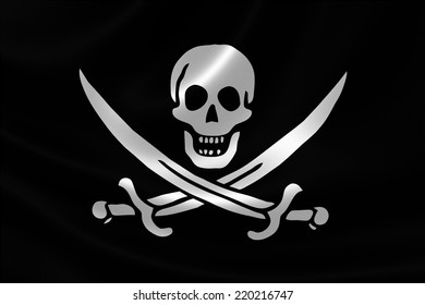 3D rendering of the Pirate Flag of Calico Jack on satin texture. The flag depicts a showed a skull over crossed cutlasses.