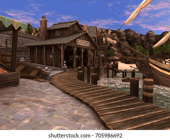 3D rendering of a pirate treasure island