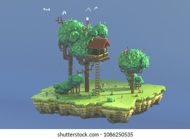3d rendering pixel art. Nature scene with ground, grass, bushes, flowers and little tree house. Game background. Isometric summer lawn. Angle view