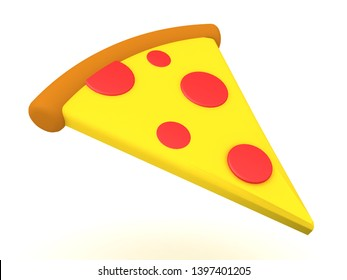 3D Rendering of pizza slice. 3D Rendering isolated on white.