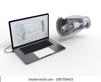 3d rendering - plane engine computer aided design