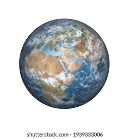 3D rendering of planet Earth in daylight rotated to show Africa, the Middle East and Europe, isolated on white with the clipping path included in the file. Elements of this image furnished by NASA.