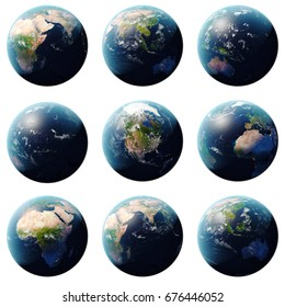 3D rendering Planet Earth set, globe from different angles, Set Earth isolated on white background for your design. Elements of this image furnished by NASA