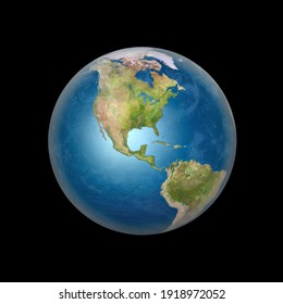3D rendering of Planet Earth from space in full daylight, with North and South American continents, isolated with clipping path. Elements of this image furnished by NASA.