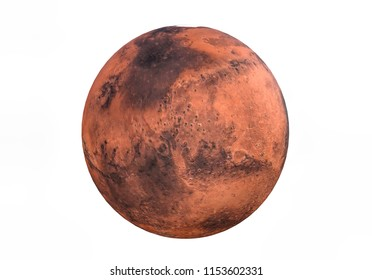 3d rendering of Planet mars isolated on white