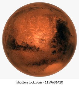 3D rendering of planet Mars with white background