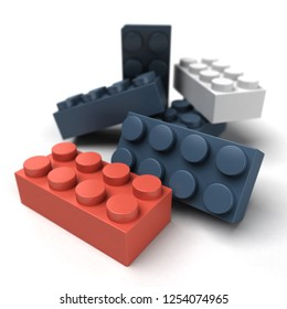 3D rendering of plastic construction blocks in red blue and black