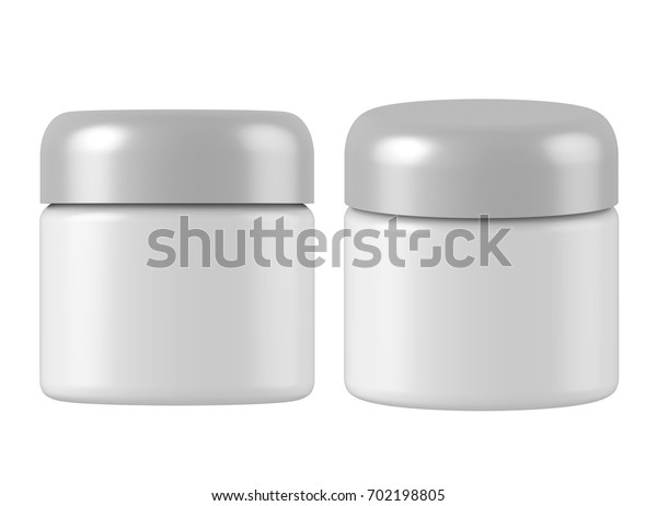 3D rendering plastic cosmetic jar with silver lid for cream, butter, scrub, gel, powder, wax. Realistic packaging mock up template