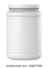 3D rendering Plastic jar with lid for whey protein container, gainer powder, supplement. Mock up on white background